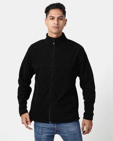 Utopia Polar Hybrid Fleece Funnel Neck Zip Through Black