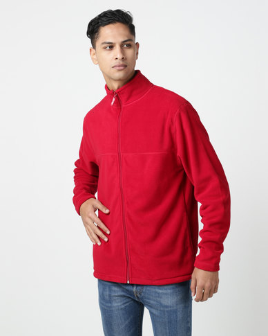 Utopia Polar Hybrid Fleece Funnel Neck Zip Through Red