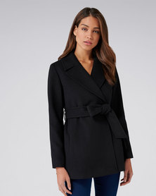Forever New Anna Crop Wrap Coat Black