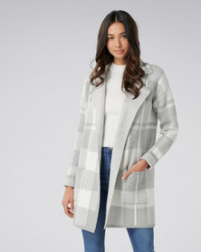 Forever New Brielle Knitted Check Coatigan Grey/ White Check