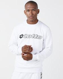 Lotto Performance Mens Retro Crew Neck Sweatshirt White