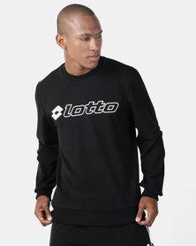 Lotto Performance Mens Retro Crew Neck Sweatshirt Black