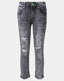 K-Star 7 Blast Boys Hyper Stretch Rip & Repair Jeans Grey