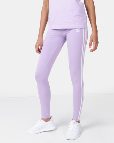 b5115460ef2fb adidas Originals Ladies Stripe Leggings Purple | Zando