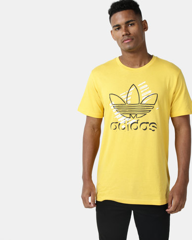 adidas Originals Mens Trefoil Art Tee Yellow