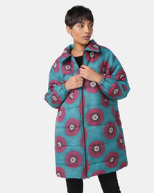 Black Buttons Zintle Puffer Jacket Teal