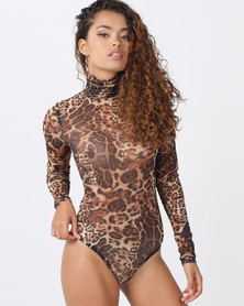 Brett Robson Jasmine Mesh Animal Ptd Long Sleeve Bodysuit Brown