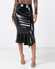 Brett Robson Elsa Vinyl Skirt with Mermaid Hem Black