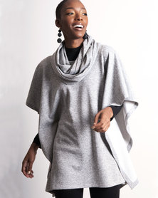 Marique Yssel Square Poncho & Snood 2 Piece - Grey Cashmere