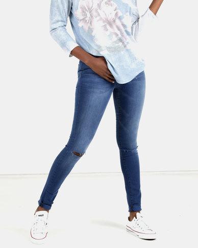 Soviet Medina Rip Knee Skinny Jeans Blue