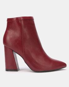 LaMara Block Heel Boots Burgundy