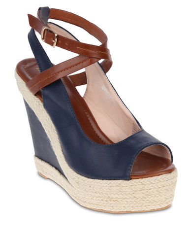 Marie Claire Rope Wedge Heels Navy Blue  9d978cce97