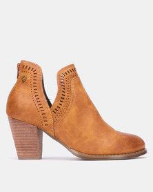 Bronx Women Randy Ankle Block Heel Boots Tan