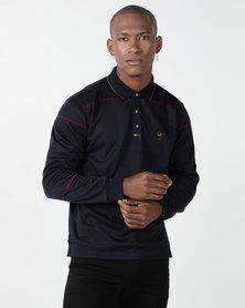 KG Jaquard Double Knit Long Sleeve Golfer Navy