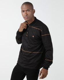KG Jaquard Double Knit Long Sleeve Golfer Black