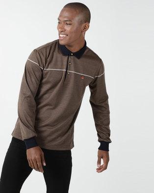KG Jaquard Double Knit Long Sleeve Golfer Brown
