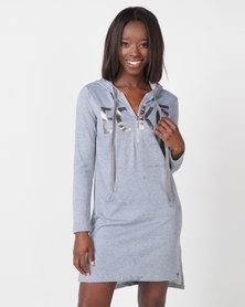 ECKÓ Unltd Hooded Zip Dress Grey