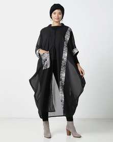 Shop.Style.Snap Snake Print Hoodie Kaftan Black