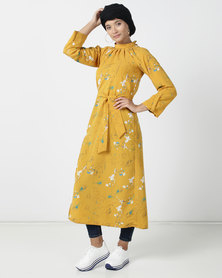 Shop.Style.Snap Floral Dress Mustard