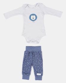 Pickallily Kids Lion Vest Clothing Set Grey/Blue