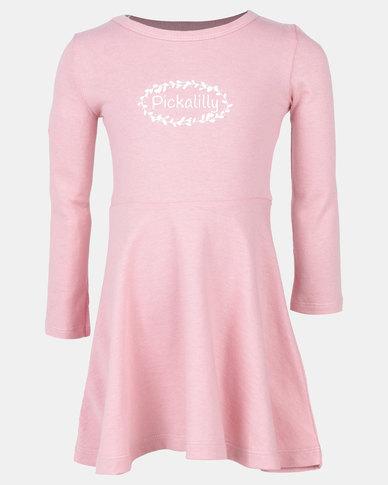 Pickallily Kids L/S Dress Dusty Pink