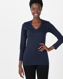 Nucleus Long Sleeve V Neck Navy