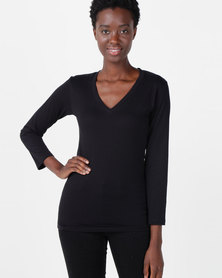 Nucleus Long Sleeve V Neck T Black