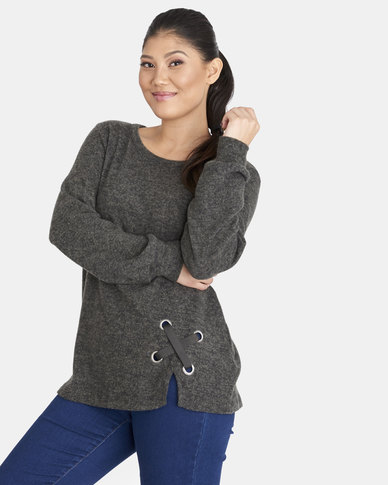 Contempo Fleece Top With Eyelets & Tie Charcoal