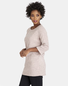 Contempo Melange Knit Top Pink