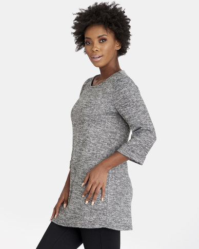 Contempo Melange Knit Top Grey