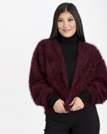 Contempo Shaggy Cardigan Burgandy