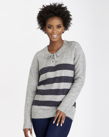 Contempo Stripe W/Neck Tie Top Grey