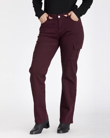 Contempo Cargo Trousers Burgandy