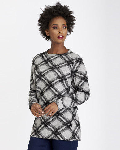 Contempo Heavyweight Check Top Grey