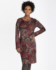 Contempo Printed Tunic Dress Red