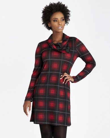 Contempo Printed Tunic Dress With Cowl Neck Red