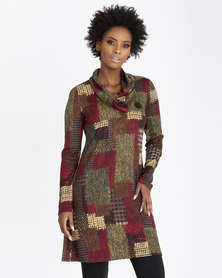 Contempo Printed Tunic Dress With Cowl Neck Natural