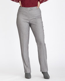 Contempo Textured Straight Leg Pants Grey