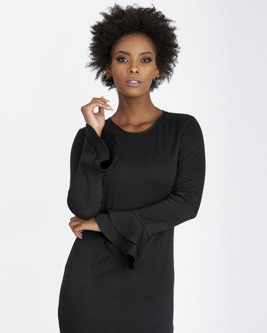 Contempo Plain Ponti Dress With Frill Sleeve Black