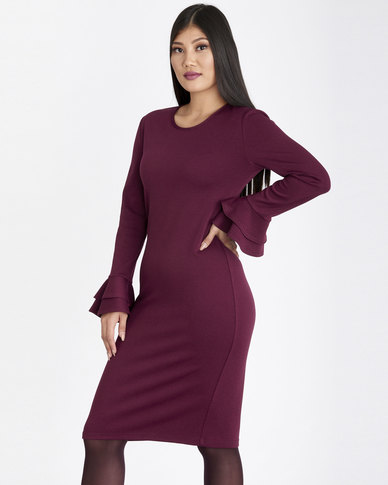 Contempo Plain Ponti Dress With Frill Sleeve Plum