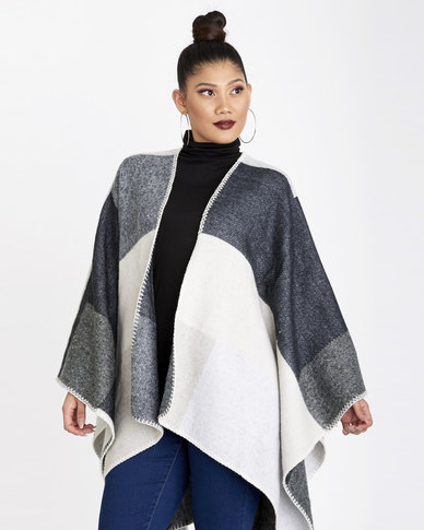 Contempo Wrap Blanket Poncho Stone