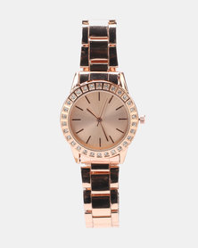 Legit Link Strap Diamante Watch Rose Gold