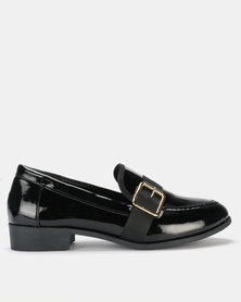 Legit Loafer with Petersham Overlay & Gold Buckle Black