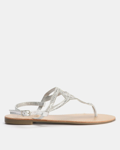Legit Embellished Flat Thong Sandal with Square Jewels Silver