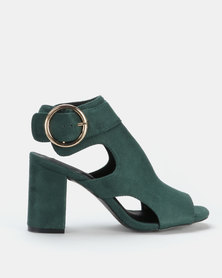 Legit Cage Peeptoe Block Heel with Big Round Buckle Emerald
