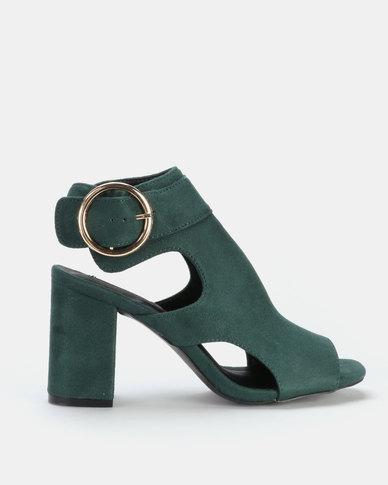 Legit Cage Peeptoe Block Heel with Big Round Buckle Emerald
