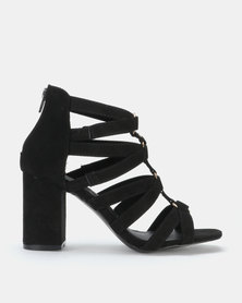 Legit Cage Block Heel Sandal with Metal Circle Trims Black