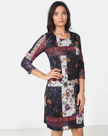Queenspark Patchwork Cashmillon Knit Dress Multi
