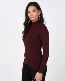 Queenspark Core Melange Turtleneck Jersey Burgundy