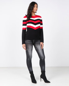 Queenspark Chevron Stripe Knitwear Top Multi